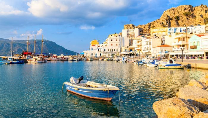 warmste eilanden griekenland oigadia karpathos haven